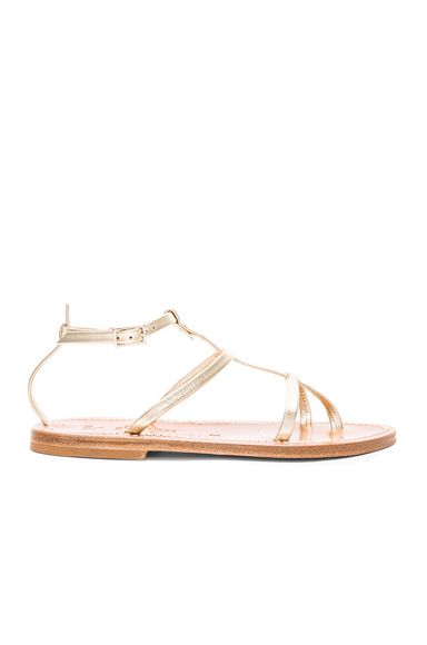 K Jacques Leather Gina Sandals in Metallics