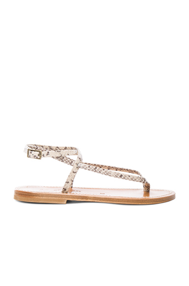 K Jacques Snakeskin Embossed Leather Delta Sandals in Animal Print, Neutrals