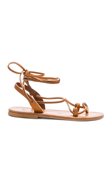 K Jacques Leather Lucile Sandals in Brown