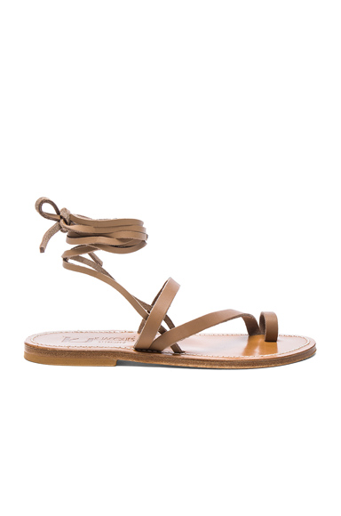 K Jacques Leather Ellada Sandals in Neutrals, Brown