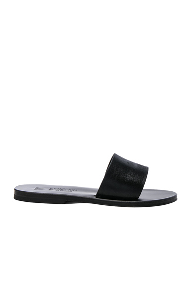 K Jacques Leather Arezzo Sandals in Black
