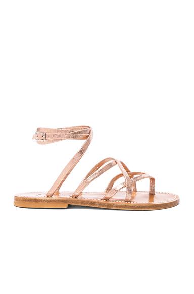K Jacques Suede Zenobie Sandals in Pink, Metallics