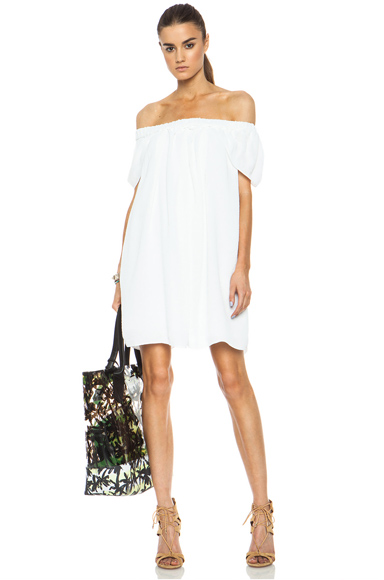 KENZO|Creased Georgette Acetate-Blend Dress in Optic White [1]