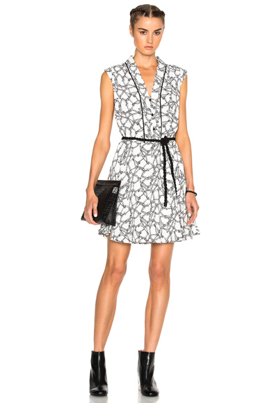 Kenzo Ropes Dress in White, Abstract