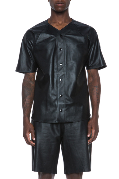 LAER | Leather Baseball Jersey in Black