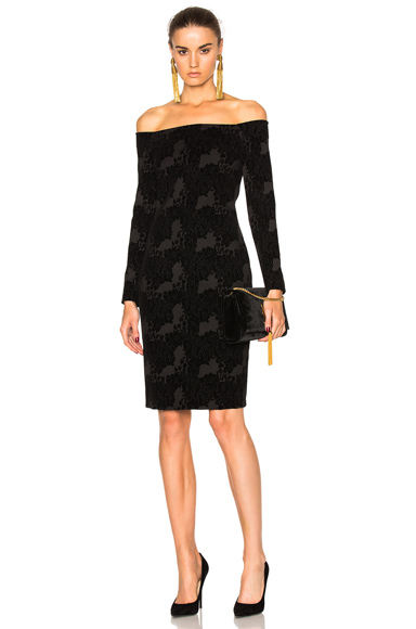 L'AGENCE Daphne Off the Shoulder Dress in Black