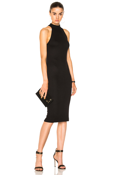 L'AGENCE Iman Mock Neck Dress in Black