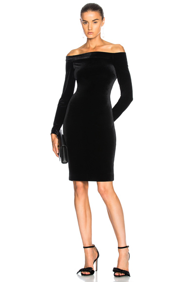 L'AGENCE Daphne Off Shoulder Velvet Dress in Black