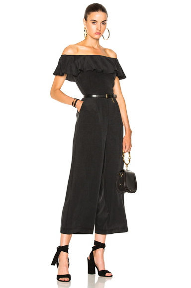 L'AGENCE Nicolle Ruffle Jumpsuit in Black