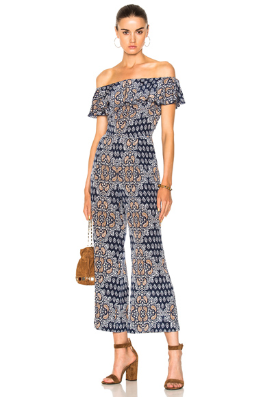 L'AGENCE Nicolle Ruffle Jumpsuit in Blue, Floral