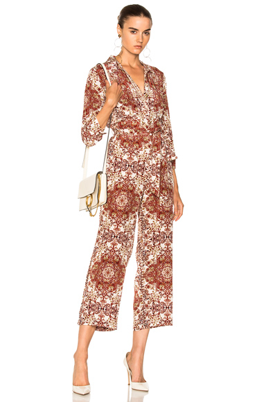 L'AGENCE Delia Jumpsuit in Abstract, Neutrals, Red