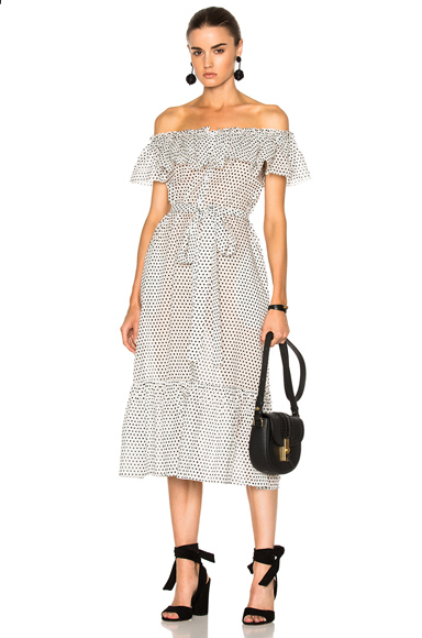 Lisa Marie Fernandez Mira Button Down Sheer Dress in Geometric Print, White