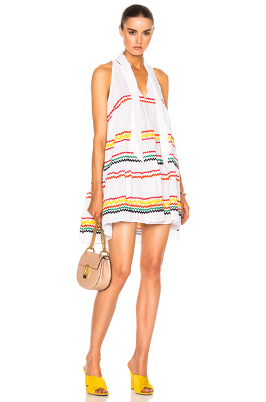 Lisa Marie Fernandez Mini Babydoll Dress in Abstract, White