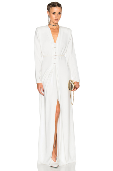 Photo of Lanvin V Neck Long Sleeve Gown in White online womens dresses sales