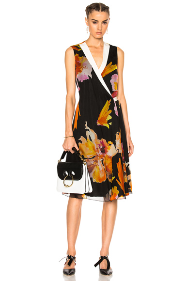 Lanvin Floral Wrap Dress in Black, Floral, Orange