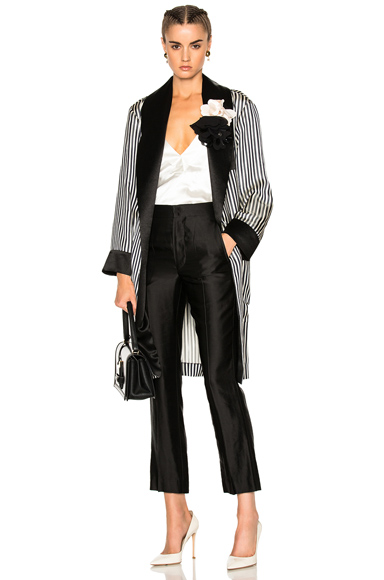 Photo of Lanvin Robe Jacket in Blue, Black, Stripes online womens jacket sales
