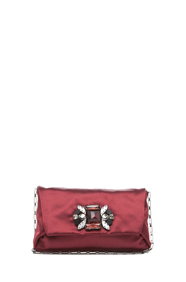 LANVIN | Satin Dinner Clutch in Burgundy