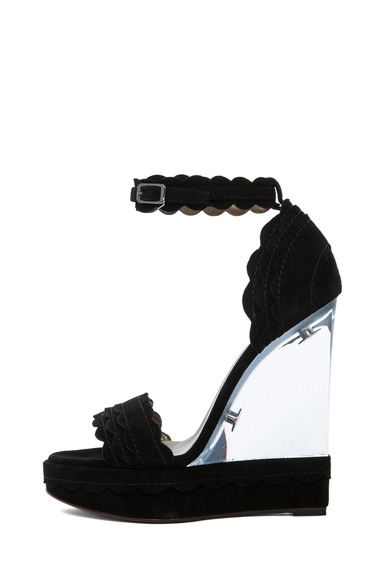LANVIN | Leather Scalloped Strapped Lucite Heel in Black