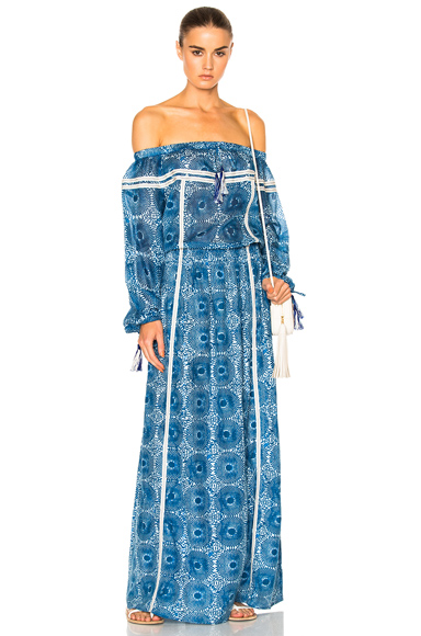Lemlem Makena Maxi Dress in Blue, Abstract