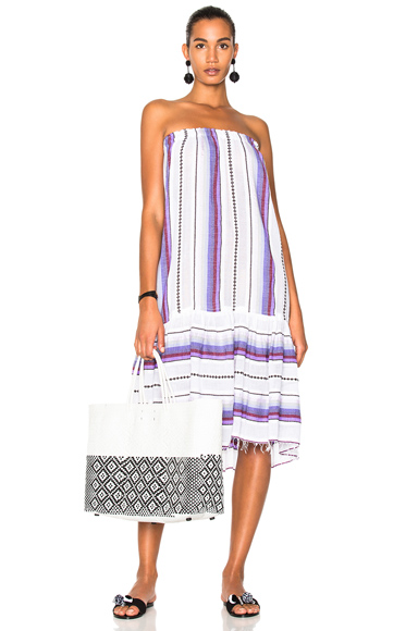 Lemlem Adia Convertible Dress in Stripes, Purple, White