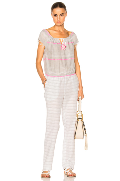 Lemlem Aden Tassel Tie Jumpsuit in Gray, Pink, White