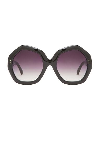 LINDA FARROW | Octagon Polarized Sunglasses in Black