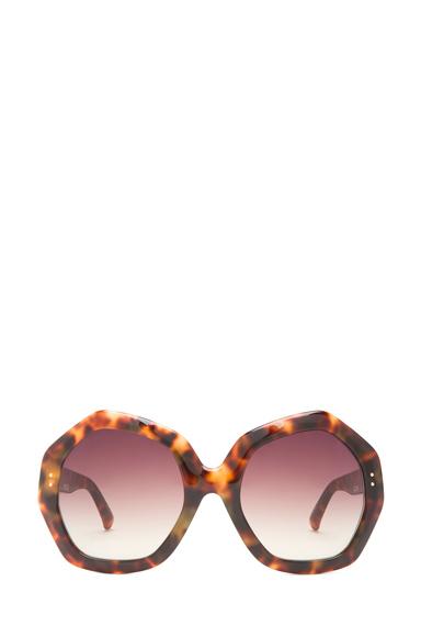 LINDA FARROW | Octagon Polarized Sunglasses in Tortoise