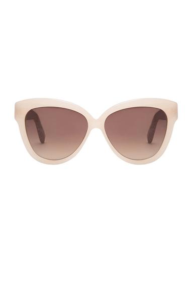 LINDA FARROW | Curved Square Polarized Sunglasses in Taupe