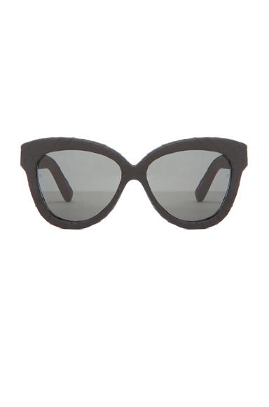 LINDA FARROW | Curved Square Polarized Sunglasses in Black Snakeskin