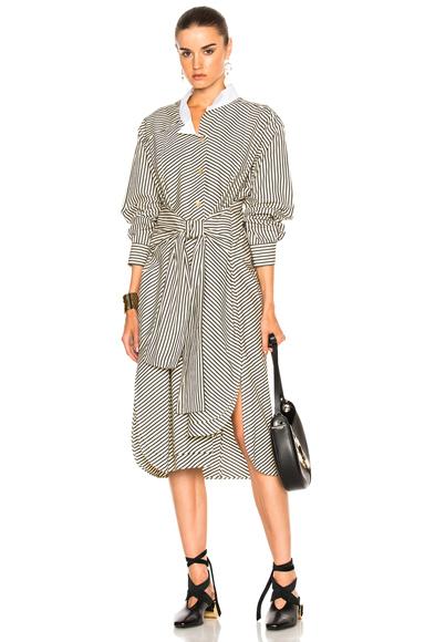 Loewe Striped Shirt Dress in Black, Stripes, White