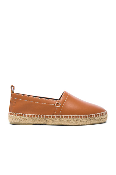 Loewe Contrast Stitching Leather Espadrilles in Brown