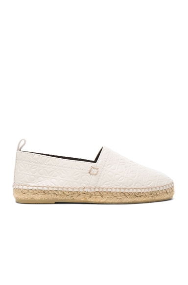Loewe Leather All Over Repeat Espadrilles in White