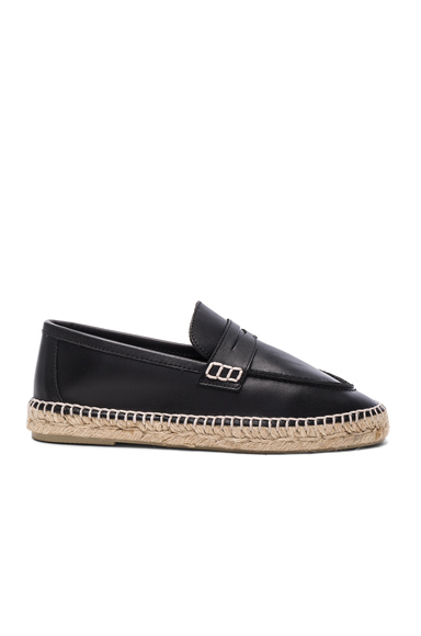 Loewe Leather Loafer Espadrilles in Black