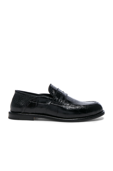 Loewe Croc Embossed Slip On Loafers in Black, Animal Print