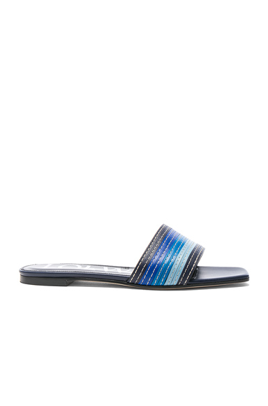 Loewe Leather Flat Mules in Blue, Stripes
