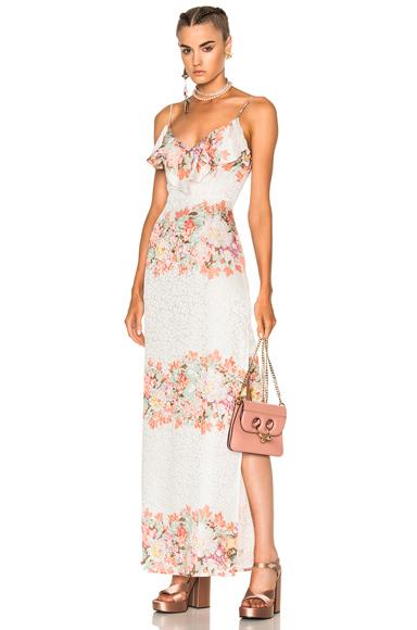 LPA Dress 167 in Green, Floral, Pink, White