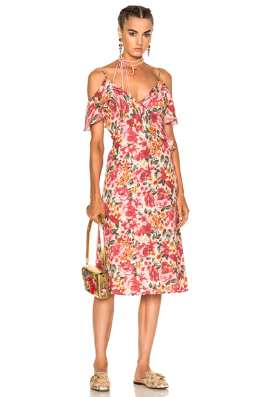LPA Dress 137 in Floral, Pink, Red