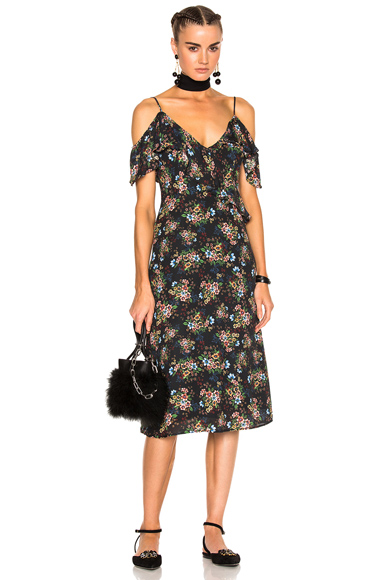 LPA Dress 137 in Black, Floral