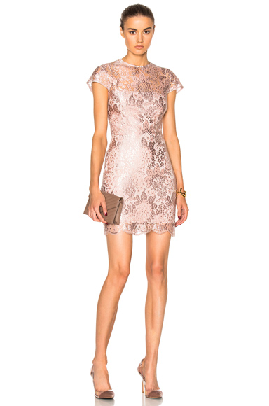 Lover Opium Fitted Mini Dress in Pink, Metallics