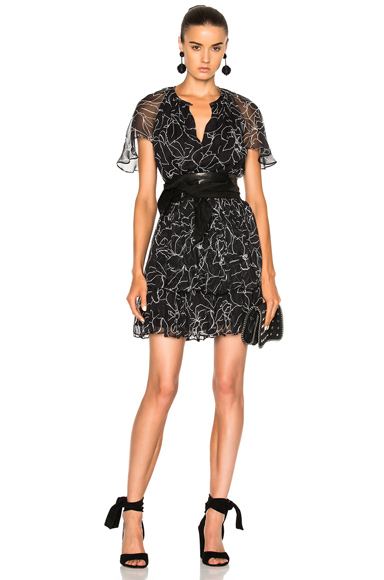 Lover Tuberose Mini Dress in Black, Floral