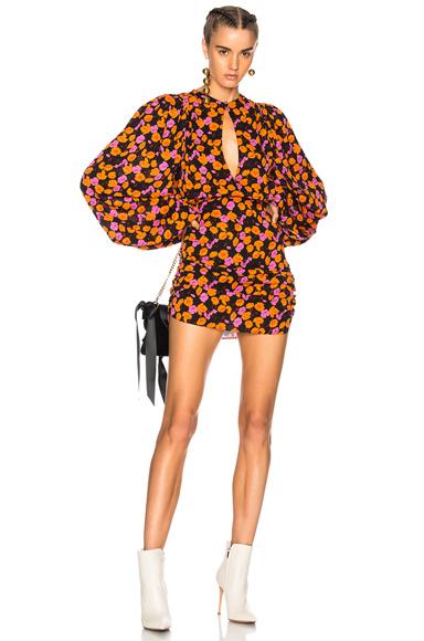 Magda Butrym Udine Dress in Black, Floral, Pink, Orange