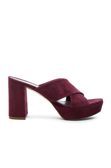 Mansur Gavriel Suede X Strap Heels in Purple