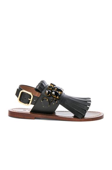 Marni Jewel Leather Sandals in Black