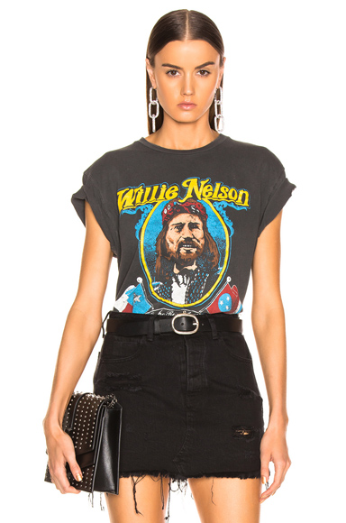 MADEWORN | Madeworn Willie Nelson On The Road Again Crew Tee In Black. - Size XS (Also In ) | Goxip