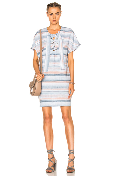 Mara Hoffman Lace Up Mini Dress in Blue, Pink, Stripes, White