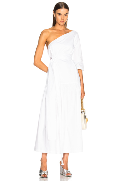 Mara Hoffman Sam One Shoulder Dress in White
