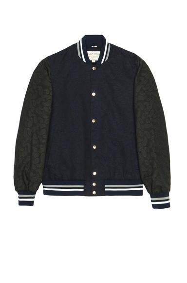 MAISON KITSUNE | Bicolor Paisley Cotton Teddy Jacket in Khaki & Navy