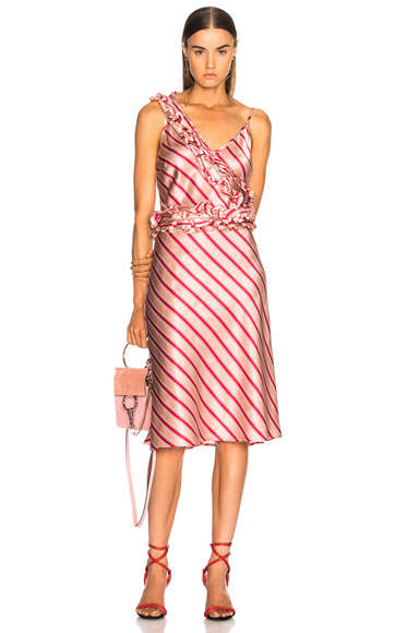 Maggie Marilyn I Need You By My Side Dress in Orange, Red, Stripes