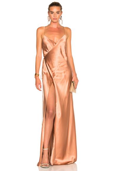 Michelle Mason Strappy Wrap Dress in Neutrals, Brown, Metallics