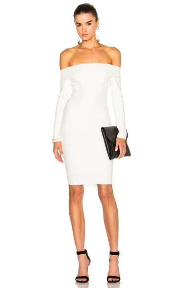 Michelle Mason Off Shoulder Dress in White